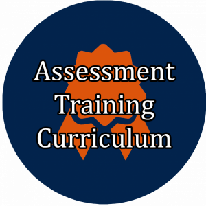 "blue button with award badge icon linking to ""Assessment Training Curriculum"""""