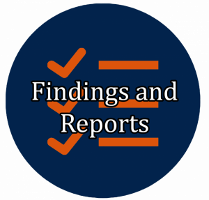 "blue button with checklist icon linking to ""Findings and Reports"""""