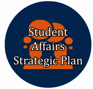 "blue button with comment icon linking to ""Student Affairs Strategic Plan"""