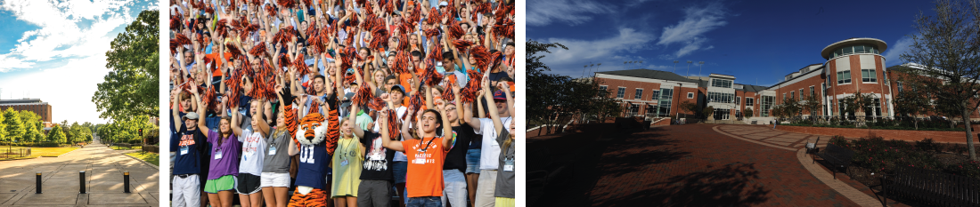 banner image collage - concourse, Aubie and students at football game, outside view of student center