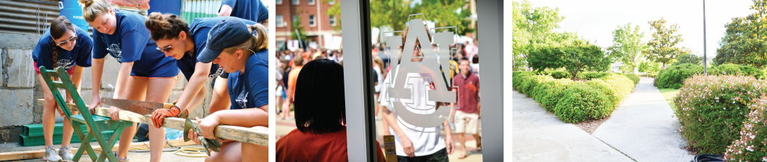 banner image collage - students outside, AU Logo on door, walkway on campus