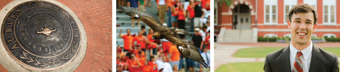 banner image collage - Auburn seal, eagle flying in stadium, student outside Samford Hall